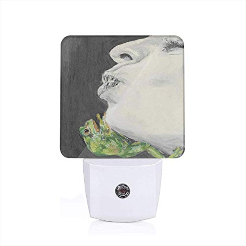 Colorful Plug in Night,Drawing of Lady Kissing The Frog Prince Soul Mates Love Boho Animal Artwork,Auto Sensor LED Dusk to Dawn Night Light Plug in Indoor for Childs ()