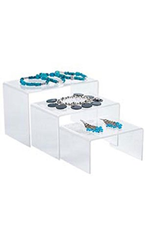 - 4 inch Rectangular Nesting Clear Acrylic Display Risers - Set of 3