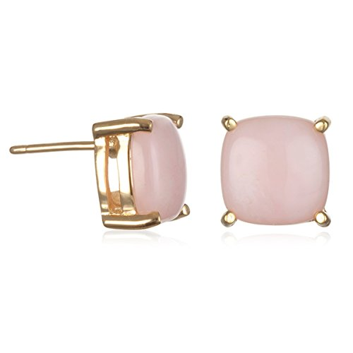 Pink Peruvian Opal Stud Earring in Gold Tone