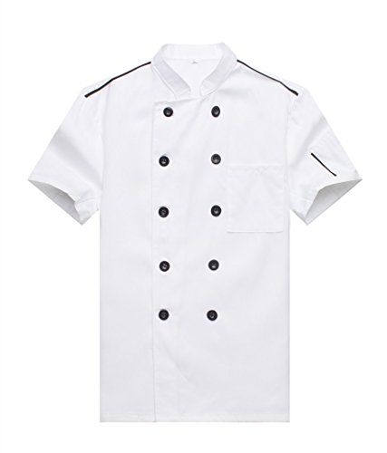 Chef Jackets Waiter Coat Short Sleeves Size XL (Label:3XL) White (Coat Waiter)