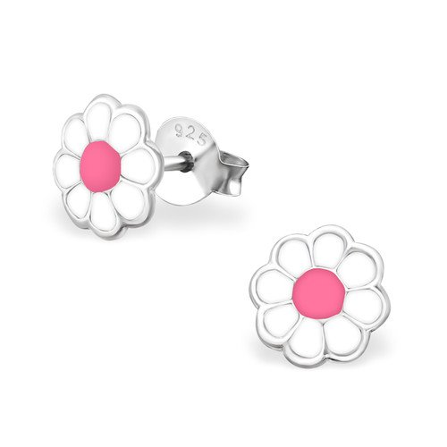Girls Flower Colorful Ear Studs 925 Sterling Silver