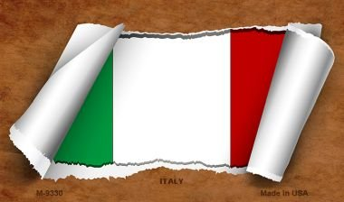 Italy Flag Scroll Novelty Metal Magnet M-9330 MINI Licence Plate Magnet by Smart Blonde
