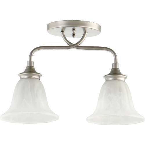 (Quorum-Two Light Faux Alabaster Glass Classic Nickel Bowl Semi-Flush Mount-3294-2-64 by Quorum )