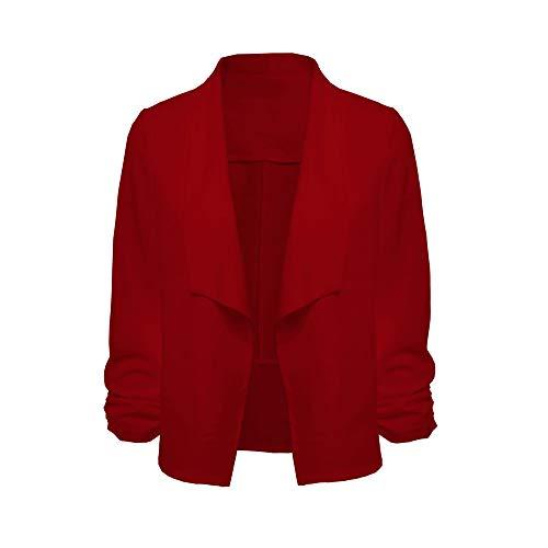 Dames Rouge Long Cardigan Femmes Travail Vente Tops Veste Avant Bureau Liquidation Hiver 4 3 Manteaux Shobdw Manches Manteau Ouvert Court qHTPFnWExE