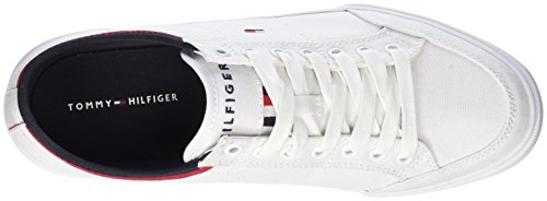 Hilfiger Sneaker Para white Blanco Core Textile Hombre 100 Tommy Zapatillas Corporate U4Pwqq