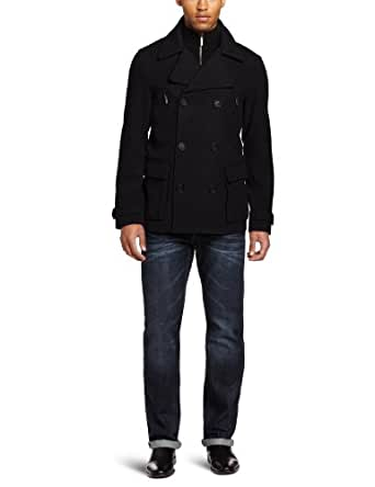 Kenneth Cole New York Men's Wool Peacoat With Sweater Insert, Black, Large