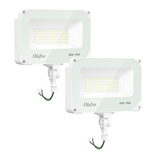 Olafus 60W 2 Pack Dusk to Dawn LED Security Lights with Photocell, 6000LM Outdoor Security Flood Light with Knuckle Mount (300W Equiv.), IP66 Waterproof 5000K Daylight Yard Light for Area Lighting