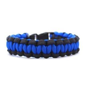 """7"""" Black & Blue Thin Blue Line Paracord Bracelet (Law Enforcement)"""