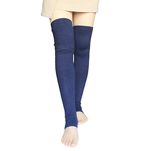 Share Maison Women's Cashmere Wool Winter Warm Knitted Over Knee High Boots Long Socks Leg Warmers (11-Dark Blue)