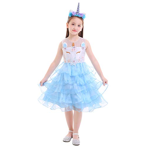 Unicorn Party Costume Cosplay Fancy Dress Princess Tutu Skirt for Birthday Festival Performance Pageant Carnival Halloween Christmas Photo Shoot for Baby Girls Blue & Headband 5-6 Years ()