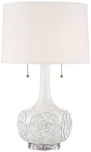 Possini Euro Natalia White Floral Table Lamp (Flower Table Lamp)