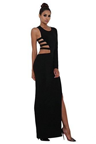 Noir Simple à manches longues Jersey Maxi robe Soirée Party Club Wear Taille M 10–12UK EU 38–40