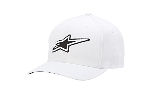 Alpinestars Men's Curved Bill Structured Crown Flex Back 3D Embroidered Logo Flexfit Hat ()