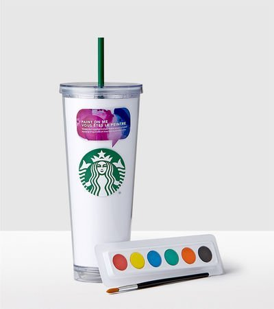 Starbucks Watercolor Create Your Own Cold Cup, White - 24 fl oz -