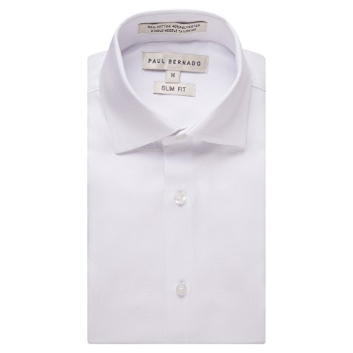 Paul Bernado Boy's 2202SL Long Sleeve Slim Fit Pique Design Dress Shirt - White - 4 by Paul Bernado