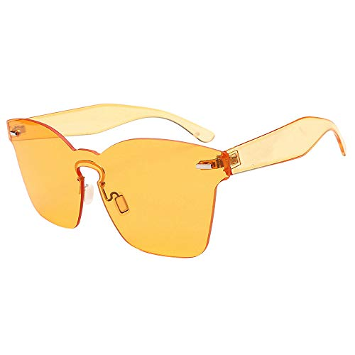 JJLIKER Rimless One Piece Clear Tinted Sunglasses Oversized Fashion Flat Lens Beach Outdoor Vacation for Men and Women Yellow ()