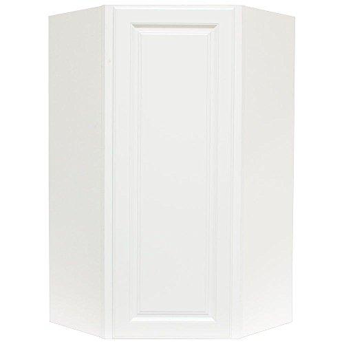 24x42x12 in. Hampton Wall Diagonal Corner Cabinet in Satin White