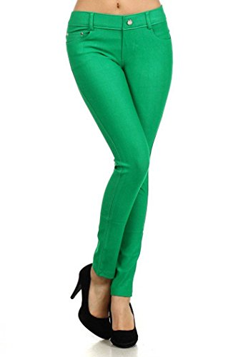 Kelly Green Pants - Yelete Hudson Black Herringbone Solid 5 Pocket Solid Fashion Jegging With Rhinestones (Small/Medium, Green)