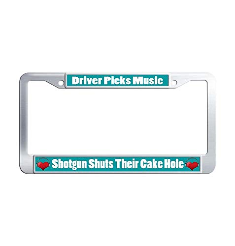 Nuoyizo Driver Picks Music Shotgun Shuts Their Cake Hole Car tag Frame Cool Metal Waterproof Stainless Steel Car License Plate Holder with Bolts Washer Caps for US Standard