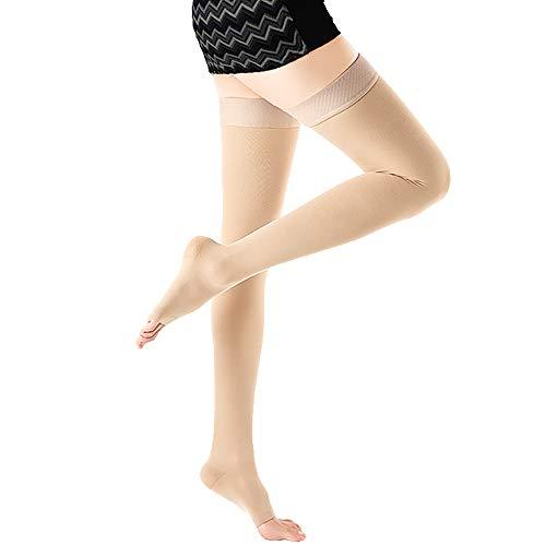 Aaister Medical Open Toe Thigh High Compression Stockings, GraduatedSupport 20-30 mmHg Firm Hose for Women & Men, Treatment Swelling, Relief Varicose Leg Veins, Pregnancy, Flight