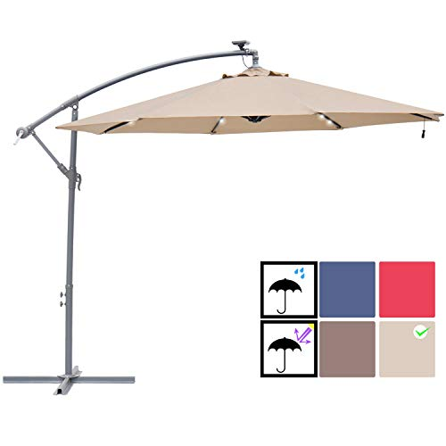 SUNBRANO 10ft Solar Power LED Outdoor Cantilever Patio Umbrella, Offset Crank Hanging Umbrella with 32 LED Lights, 8 Ribs, Taupe