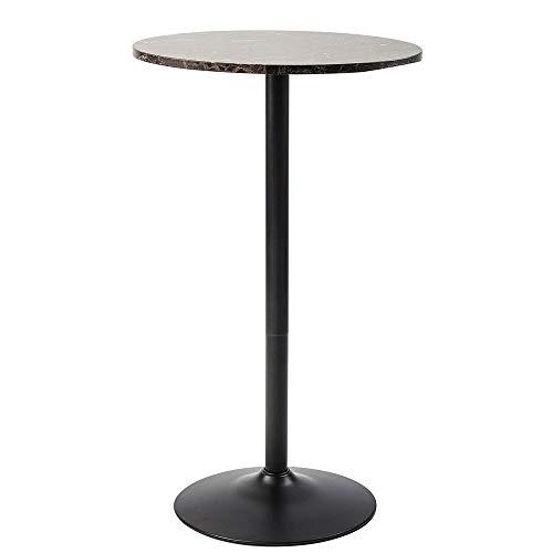 Marble Top Pub Table - Pearington PEAR-10001 Lucia Round Bar and Pub Table with Faux Marble Top, Black