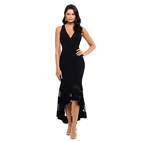 Betsy & Adam Strapless V Front Crepe Dress - Black Hi-Low 3/4 Length, Illusion Band Skirt