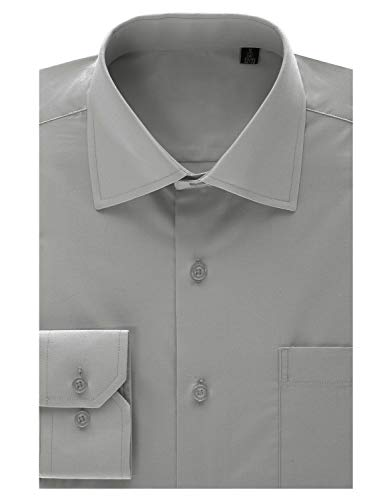 MONDAYSUIT Men's Tailored Fit Spread-Collar Solid Pinpoint Non-Iron Dress Shirt Silver 16/16.5
