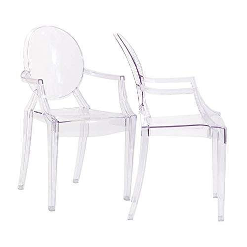 Modway Casper Modern Acrylic Stacking Two Dining Armchairs in Clear