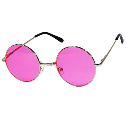 ShadyVEU Retro Round Groovy Wire Circular Colorful Flat Lens Spring Hinge Nickel Metal Frame Sunglasses (Silver Frame/Hot Pink Lens) (Nickel Silver Sunglass)