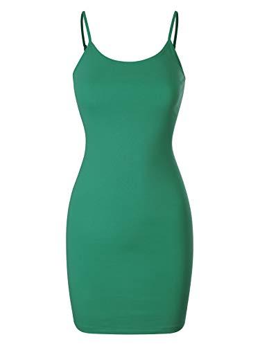 Design by Olivia Women's Casual Sleeveless Spaghetti Strap Stretch Cami Slip Bodycon Short Mini Dress Kelly Green L