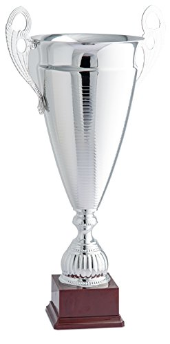 Trophy for Sports for award ceremony Glossy Pinstripe Conical Cup with Handles Color Silver with Base – H 74 D 25 cm – Finished – cm Made in Italy Idea – regalo52 by made in italy