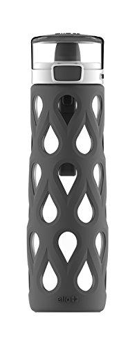 Ello Gemma Glass Water Bottle with One-Touch Flip Lid | 22 oz | Grey