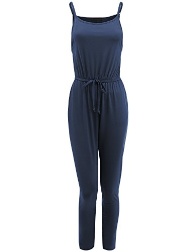 Lock and Love WRJ1607 Womens Sleeveless Elastic Waist Knit Long Jumpsuit S Navy]()