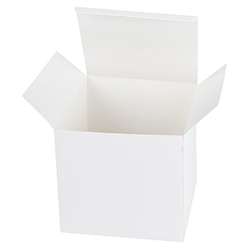 LaRibbons 20Pcs Recycled Gift Boxes - 6 x 6 x 6 inches White Paper Box Kraft Cardboard Boxes with Lids for Party, Wedding, Gift Wrap