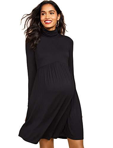 Flare Turtleneck (Motherhood Maternity Women's Maternity Long Sleeve Turtleneck Babydoll Dress, Black, Medium)