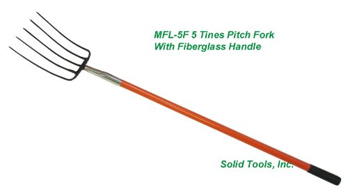 5 Tines Forged Pitch Fork with Long Fiberglass Handle