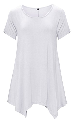 DB MOON Womens Tunic Tops Short Sleeve T Shirts Dress ( S-XXXL ) – Small, Db03 White