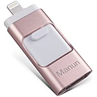 USB Flash Drives for iPhone 32GB Memory Stick, Manun otg Flash Drive External Storage Flash Memory Pen Drive for iphone and ipad iOS/ Android [Upgraded Version] Pink