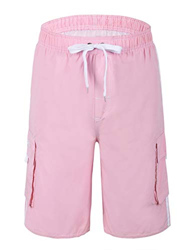 Nonwe Men's Swimwear Lightweight Board Shorts with Lining Pink 38]()