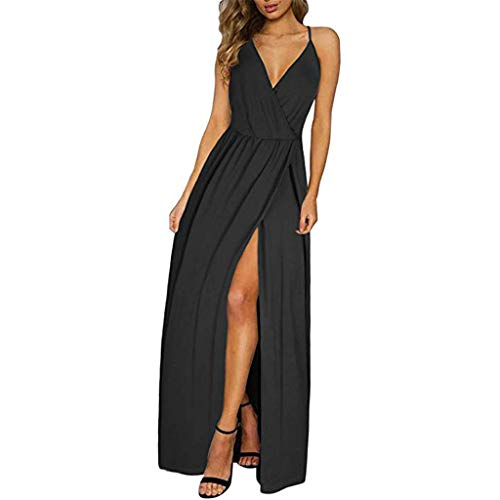 Price comparison product image Hot!! Womens Strappy Maxi Dresses GateLie Ladies Fashion Sexy Sleeveless Deep V-Neck Solid High Slit Long Dress Evening Party Prom Sundress Club Wear (Black,  Medium)