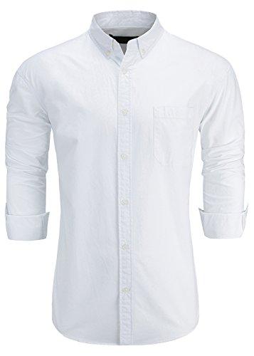 KateSui Men's 100% Cotton Slim Fit Long Sleeve Button-Down Oxford Dress Shirt Medium White - Cotton Formal Shirt