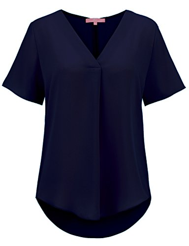 Regna X Womens Short Sleeve V Neck Summer Solid Loose Top Blouse Shirt Navy ()