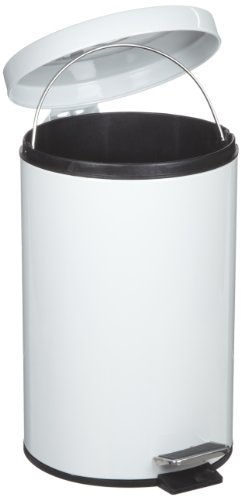 Rubbermaid Commercial Step-On Trash Can with Plastic Liner, 3-1/2 Gallon, White, FGMST35EPLWH (Self Closing Round Receptacle)