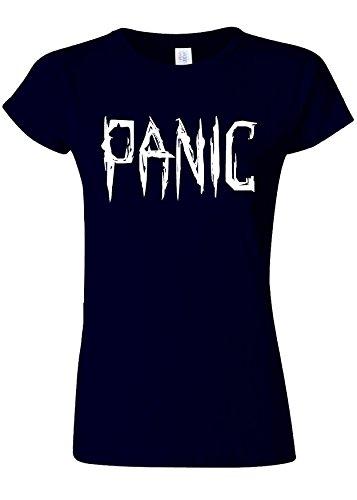 サーキュレーションハッピー数学的なPanic Relax Cool Funny Novelty Navy Women T Shirt Top-S