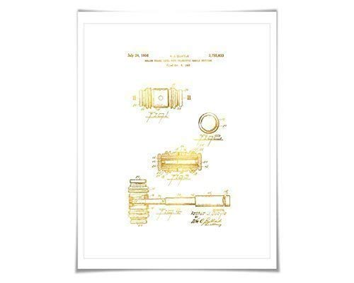 Judge's Gavel Gold Foil Patent Art Print. 7 Foil Colours. Lawyer. Legal. Law Firm.