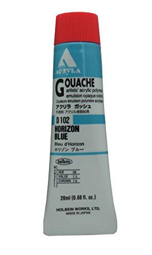 Holbein Acryla Gouache Artists Acrylic Polymer Emulsion, 20ml Horizon Blue (D102) - Acrylic Emulsion