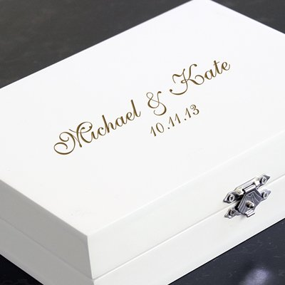 Mr & Mrs Ring Bearer Pillow Box in Bridal White with Jewelry Inserts & FREE Personalization