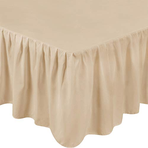 Utopia Bedding King Ruffle Bed Skirt,16 Inch Drop (Beige) (Tan Ruffle Comforter)