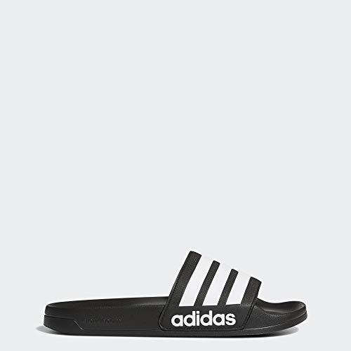 adidas Men's Adilette Shower Slide Sandal, White/Black, 9 M US (Free Return Shipping)